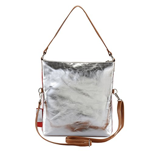 HYDESTYLE Lb31 - Bolso mochila  de Piel para mujer plata