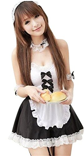 Sexyin Women's Sexy Lingerie Skirt Maid Outfit Sets Cosplay Uniform Pajama (S(US 4-6), Black)