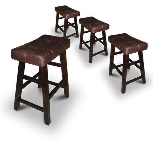 Legacy Decor 4 29 Dark Espresso Wood Bar Stools with Bonded Faux Leather Seat