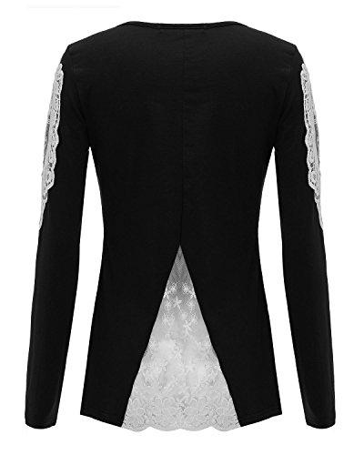 StyleDome Mujeres Blusa Casual con Encaje en Mangas Largas y Escote U negro