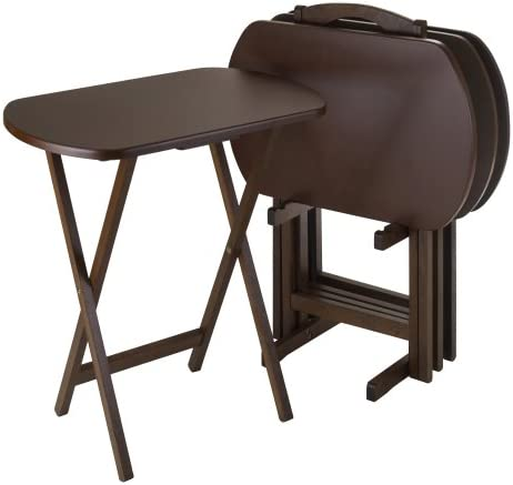 Contemporary Home Living Set of 5 Corbett Walnut Oversize Oblong Folding Snack Table with Storage Stand