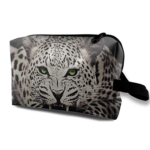 Travel Makeup Cosmetic Bag Brush Pouch Snow Leopard With Blue Eyes Zipper Pen Organizer Carry -