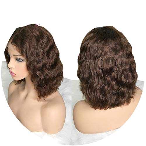 Lace Front Human Hair Wigs For Black Women Pre Plucked Remy Hair Wavy Short Bob Wigs With Baby Hair,#4,8inches]()