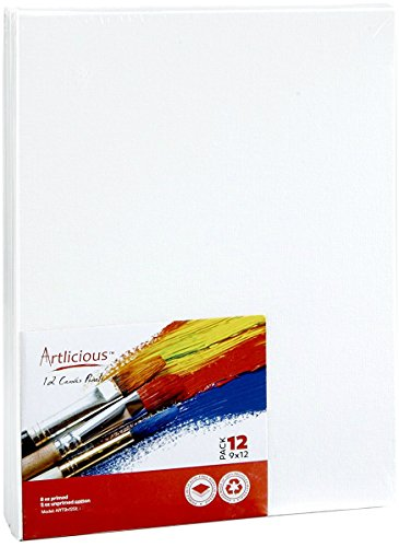 "Artlicious Canvas Panels 12 Pack - 9""X12"" Super Value Pack- Artist Canvas Boards for Painting"