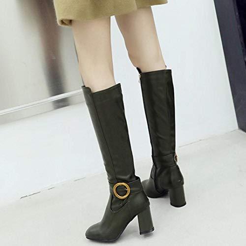 Hautes Fermeture Éclair Haut 8 Avec Femmes Taoffen Green Talon Longue Bottes Simple Chaussures Solid ZAgxSwvnq5