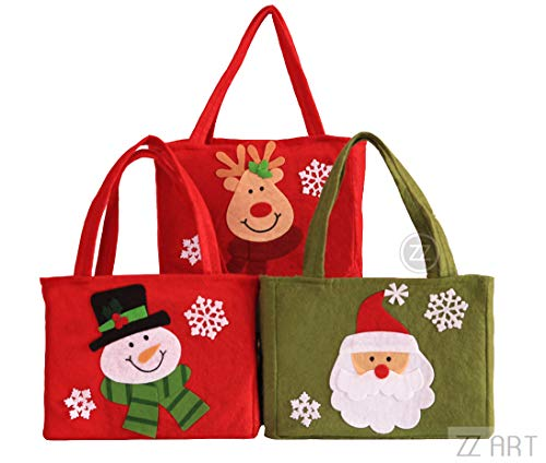 ZZART Christmas Tote Bags Present Bag For Kids Christmas Bag Stocking For Self Personalization Set of 3(Z23)]()