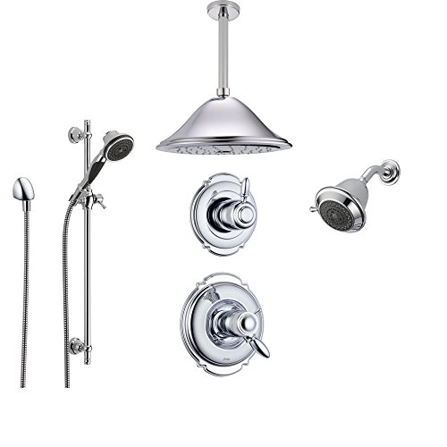 Delta Victorian Chrome Shower System with Thermostatic Shower Handle, 6-setting Diverter, Large Ceiling Mount Rain Showerhead, Handheld Shower, and Wall Mount Showerhead SS17T5594 Delta Faucets