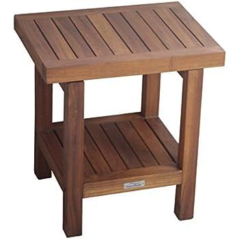 """The Original 18"""" Spa Teak Shower Bench With Shelf"""