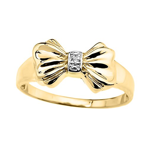 Unique 10k Yellow Gold Diamond Ribbon Bow Tie Ring (Size 5)