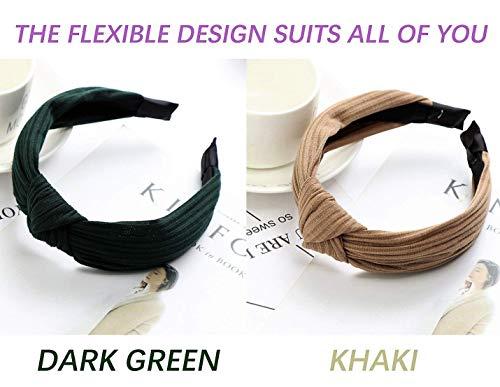 ZaoProteks ZP3304 Wide Plain Fashion Headbands Knot Turban Headband for Girls and Women (Khaki and Dark Green)