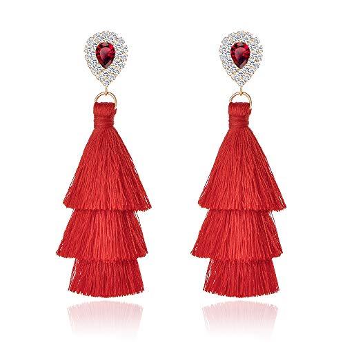 Long Tassel Earrings For Women Bohemian Drop Earrings Rhinestone Teardrop Dangle Earrings 3 Layered Multi Color Fringe Earrings Girls