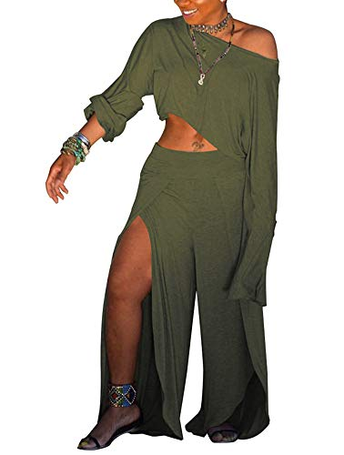 (Women's Loose Two Piece Outfits - Long Sleeve Crop Tops + Stylish Layered Flowy Palazzo Pants Set Small Green )