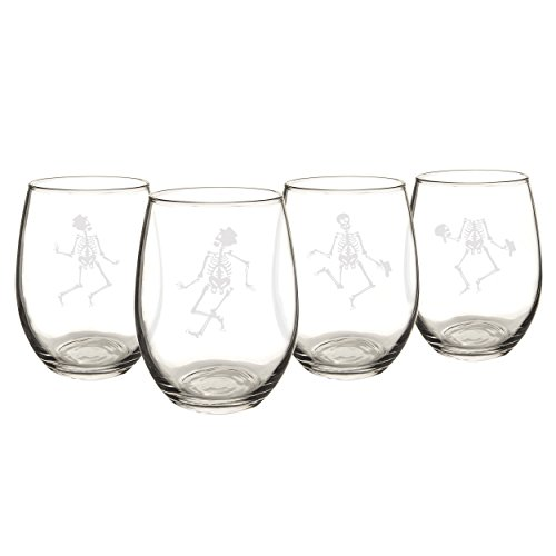 Cathy's Concepts Dancing Skeletons Stemless Wine Glasses, Set of 4, Clear -