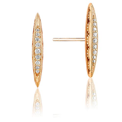 Tacori SE229P 18K Rose Gold The Ivy Lane Diamond Pavé Surfboard Stud Earrings (0.11 cttw, H to I Color, I2 to I3 Clarity)