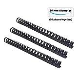 TIANSE Plastic Comb Bindings, 25mm 230 Sheets A4 Capacity, 21-Rings, Black