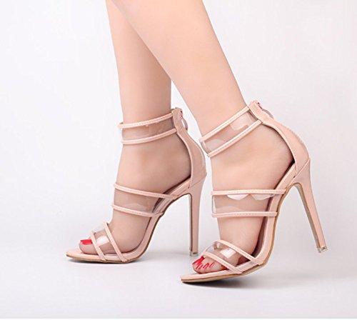 KHSKX-Sommer Rosa 8.5Cm Einzelne Schuhe Kristallklaren Mit Crystal Sandalen Super Coolen Boots Fisch Im Mund Thirty-five