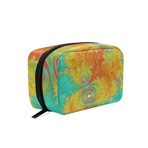 (FANTAZIO Cosmetic Bags for Women Green And Yellow Abstract Fractal Make Up Pouches)