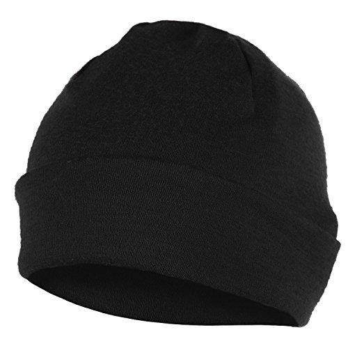 ELEMENTEX Merino Wool Unisex Beanie Hat - Black (Black Got Snowboarding)