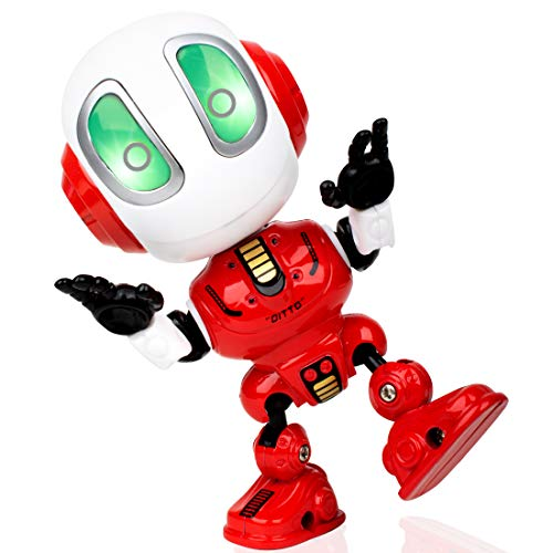 Force1 Mini Robot Talking Kids Toys - DITTO Robot Toy Mini Talking Robots, Travel Toys w/ Poseable Robot Body, LED Lights and Interactive Voice Changer (Red) (Make A Dollar Out Of 15 Cents)