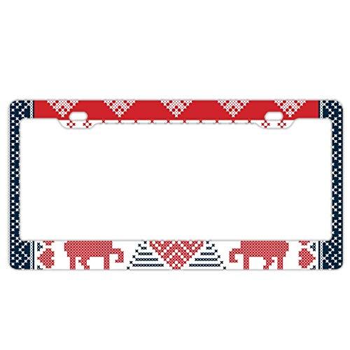 Elvira Jasper Christmas Tile Reindeers Alumina License Plate Frame 2 Hole