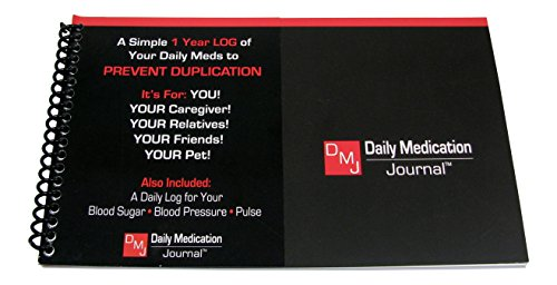 Daily Medication Journal - Never Forget to Take Your Medication. Daily Log for Medication, Blood Pressure, Blood Sugar, Pulse, & More. Spiral Bound, Compact Size Keep a Full Year of Vitals.