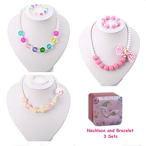 PinkSheep Kids Beaded Necklace and Bracelet 3 Sets, Little Girls Jewelry in Box, Favors Bags for Kids