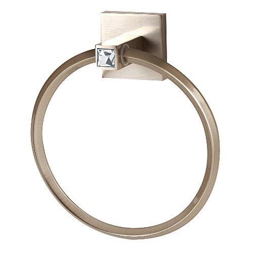 Crystal Sn Satin (Alno C8440-SN Contemporary II Crystal Modern Towel Rings, 6