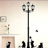 BestOfferBuy Adesivo Sticker Murale Gatti Giocherelloni con Silhouette Lampione Romantico