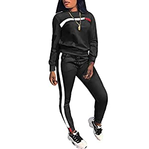 14f7299a0a KANSOON Women Stripe Patchwork Two Piece Sweatsuit Round Neck Pullover and  Skinny Long Pants