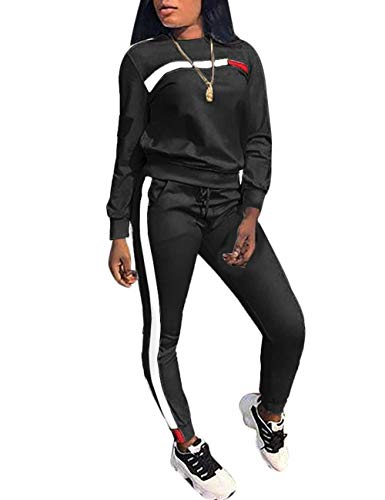 Subtle Flavor Stripe Patchwork Long Sleeve Sweatshirt Tops and Long Sweatpants Two Piece Tracksuit for Junior, Black, Large (Set For Women Sweatpants)