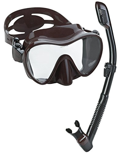 Cressi Scuba Diving Snorkeling Freediving Mask Snorkel Set, Brown Camo