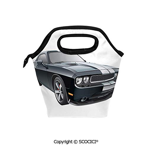Reusable Insulated Lunch Bags with Pocket Black Modern Pony Car with White Racing Stripes Coupe Motorized Sport Dragster for Adults Kids Boys Girls.