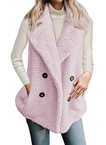 Dokotoo Womens Casual Solid Fashion Winter Elegant Sleeveless Fleece Warm Open Front Button Waistcoat Vest with Pockets Coat Outerwear Jackets Pink Large