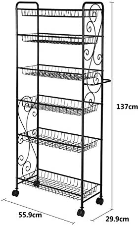 Fran_store 6-Tire Wire Storage Organization Shelf Rack Multi Purpose Utility Shelves Metal Black