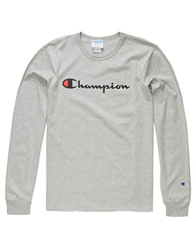 Champion LIFE Men's Heritage Long Sleeve Tee, Oxford Grey/Ink Graphic/Script, ()
