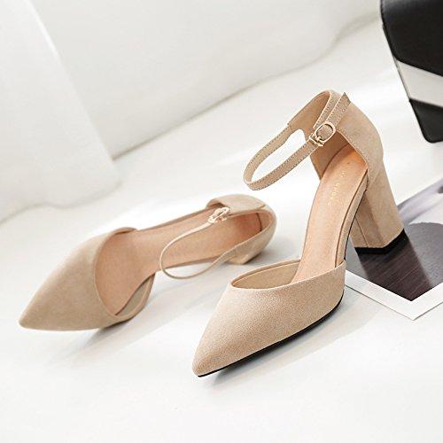 Die high-heel Schuhe Frauen Frauen Schuhe mit feinen beige Hohle geschlitzte Lasche Tipp grobe Raupenglieder Sommer Sandalen Beige df3136
