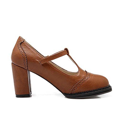 AgooLar Damen Mittler Absatz Rein Schnalle Weiches Material Rund Zehe Pumps Schuhe Gelb