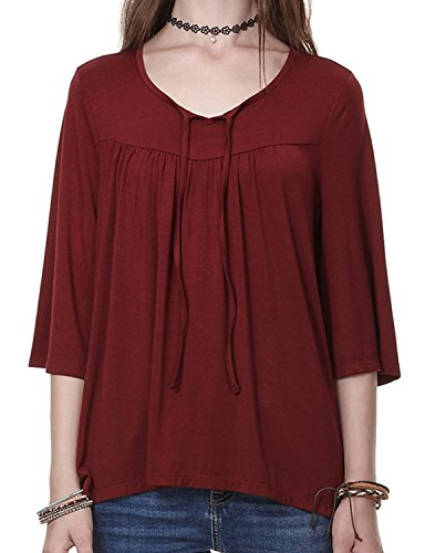 Back Tie Front Shirt (Regna X BOHO Women's Babydoll Shirts Blouse Top,  Wine - Tie Front,Small)
