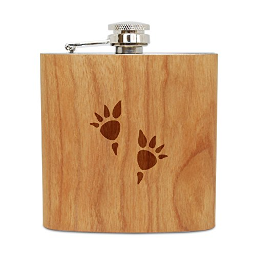 WOODEN ACCESSORIES COMPANY Cherry Wood Flask With Stainless Steel Body - Laser Engraved Flask With Stegosaurus Footprints Design - 6 Oz Wood Hip Flask Handmade In USA ()