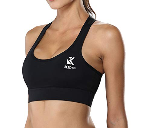 KIPRO Women's High Impact No Padding Mesh Racerback Elastic Pullover Zumba Yoga Bra Black