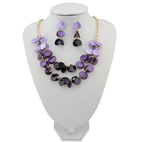 Purple Casual Earrings (BOCAR 2 Layer Statement Choker Shell Necklace and Earring Set for Women Gift (NK-10248-purple))