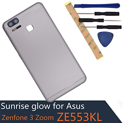 Housing for Asus Zenfone 3 Zoom ZE553KL Zenfone Zoom S Metal Back Cover Battery Door Case with Rear Camera Glass Lens with Flash Switch Button + Volume Button(Silver)