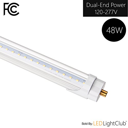 (14 Pack)- T8/T10/T12 LED Light Tube, 8FT, 36W (75W Replacement), 5000K (Day Light), 3600 Lm, Clear Cover, FA8 Single Pin Base, Dual-End Powered, Bypass ballast, Shatterproof