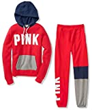 Victoria's Secret Pink Colorblock Perfect Pullover Hoodie & Campus Pant Sweat Set, Red/Gray/Blue, Large