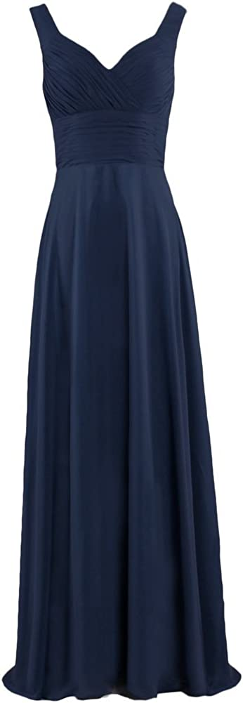 ANTS Formal Straps Pleated Long Straight Bridesmaid Dresses Prom Homecoming