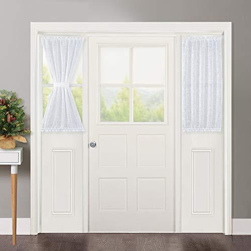 NICETOWN Linen Textured Door Curtain - White Sidelight Panel Curtain Semi Sheer French Door Curtain for Front Door with Tieback, 30