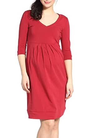 "Momo Maternity ""Emily"" Pleated Dress - Garnet S"