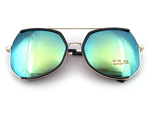 Heartisan Oversized Polygon Frame Color Reflective Lens Vintage Sunglasses - Costco Sunglasses Polarized Prescription