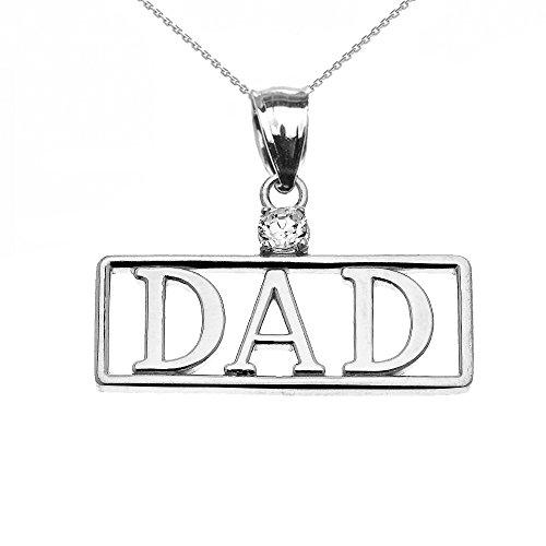 """Collier Femme Pendentif 14 Ct Or Blanc """"Dad"""" Diamant (Livré avec une 45cm Chaîne)"""