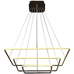 """Royal Pearl Modern Square Led Chandelier Adjustable Hanging Light Three Ring Collection Contemporary Ceiling Pendant Light H47"""" X L32"""" x W32"""""""